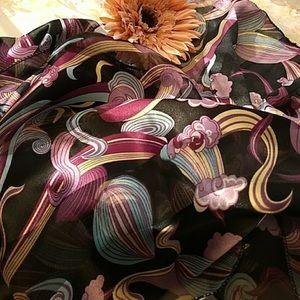 Vintage 70's print silk scarf EUC